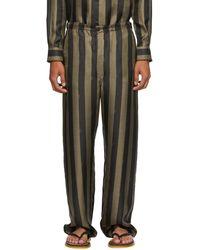 Fendi Brown Striped Pyjama Trousers - Multicolour