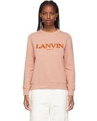 Lanvin - ピンク ロゴ スウェットシャツ - Lyst