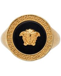 Versace - Gold And Black Resin Medusa Ring - Lyst