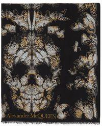 Alexander McQueen Foulard noir Butterfly Skull
