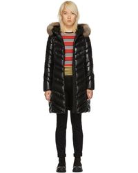 Moncler Black Down And Fur Fulmar Coat