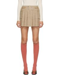 Gucci Off-white & Beige Wool Houndstooth Miniskirt - Natural