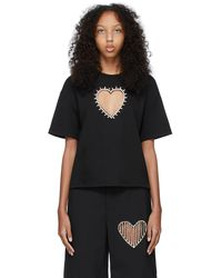 Area ブラック Heart Cut-out T シャツ