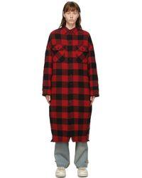 R13 - レッド & ブラック チェック ロング オーバーシャツ コート - Lyst