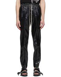 Rick Owens Black Silk Drawstring Slim Astaires Pants
