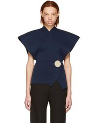 Jacquemus Navy 'le Cardigan' Knit Sweater - Blue