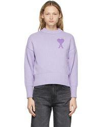 AMI パープル Ami De Coeur オーバーサイズ セーター