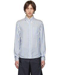 Prada - ブルー And ホワイト シルク ストライプ シャツ - Lyst