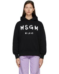 MSGM - ブラック Brushed ロゴ フーディ - Lyst