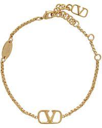 Valentino Garavani - Bracelet à chaîne doré VLogo - Lyst