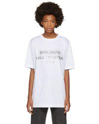 Palm Angels - White Reflective Logo T-shirt - Lyst