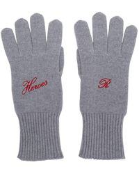 Raf Simons Grey Cashmere Heroes Gloves - Gray