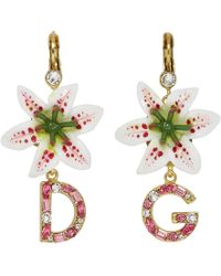 Dolce & Gabbana - White Crystal Lily Logo Earrings - Lyst
