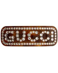 Gucci Pince a cheveux ecailles de tortue Large Crystal - Marron