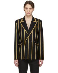 Saint Laurent Double-breasted Wool Jacket With Braiding - Black