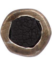 Guidi Silver Small Leather Inset Single Earring - Metallic