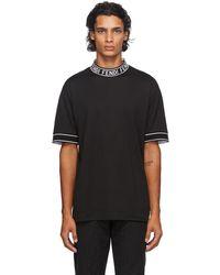 Fendi ブラック ロゴ カラー T シャツ