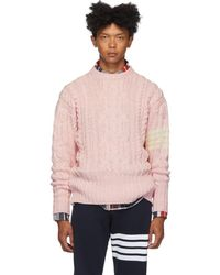 Thom Browne Pink Aran Cable 4-bar Sweater