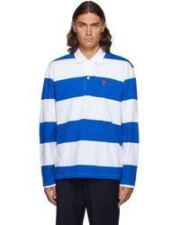AMI ブルー & ホワイト ボーダー Ami De Cœur ロング スリーブ ポロシャツ