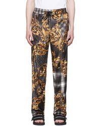 Versace Jeans Couture ブラック タータン Baroque ラウンジ パンツ