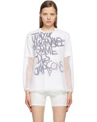Junya Watanabe T-shirt blanc en filet à manches longues