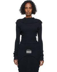 MM6 by Maison Martin Margiela ブラック ニット ロング スリーブ セーター