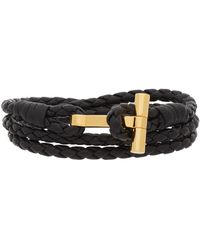 Tom Ford Bracelet double-tour en cuir tressé noir
