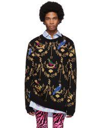Gucci ブラック Voliere ジャカード セーター