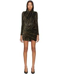 Balenciaga - Black And Gold Draped Dress - Lyst