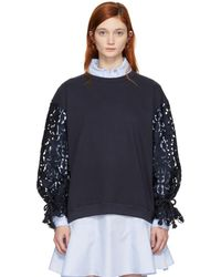 See By Chloé - Navy Broderie Anglaise Sweatshirt - Lyst