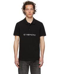 Givenchy ブラック ステッチ ロゴ ポロ