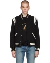 Saint Laurent Teddy Wool Jacket W/ Striped Details - Black