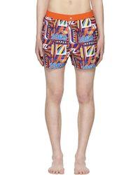 KENZO - Orange Hyper Swim Shorts - Lyst