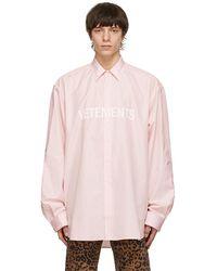 Vetements Chemise rose Front Logo