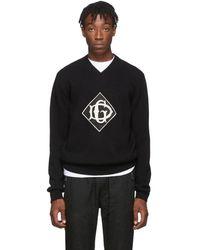 Dolce & Gabbana ブラック ウール V ネック セーター