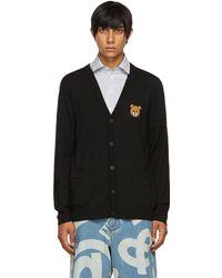 Moschino Cardigan noir en laine vierge à logo
