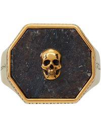 Alexander McQueen - ゴールド & ブラック ヌーマイト Skull シグネット リング - Lyst