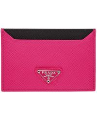 Prada - Pink Triangle Logo Card Holder - Lyst