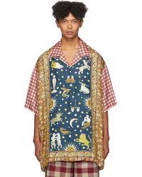 Gucci Multicolour Zodiac Rug Panel Short Sleeve Shirt - Blue