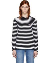 Maison Kitsuné - Black And White Striped Tricolor Fox Patch T-shirt - Lyst