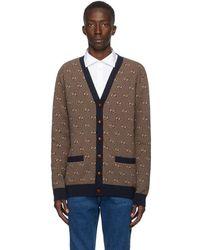 Gucci Cardigan en laine bleu marine et beige GG Stripe - Multicolore