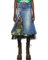 Junya Watanabe Blue Denim & Tulle Skirt