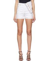 Y. Project White Denim Asymmetric Shorts