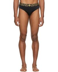 Versace - Black Greek Key Border Swim Briefs - Lyst