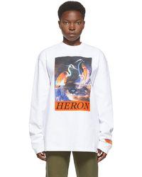 Heron Preston ホワイト Heron Times ロング スリーブ T シャツ