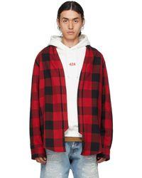 424 Chemise kimono Buffalo rouge et noire à carreaux