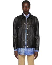 Acne Studios Bla Konst コレクション ブラック レザー ポケット ジャケット