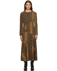 Dries Van Noten - ブラック & ゴールド ウール スネーク ドレス - Lyst