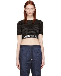 Versus - Black Cropped Knit Pullover - Lyst