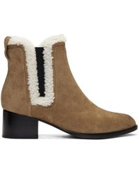 Rag & Bone - Tan Suede And Shearling Walker Boots - Lyst
